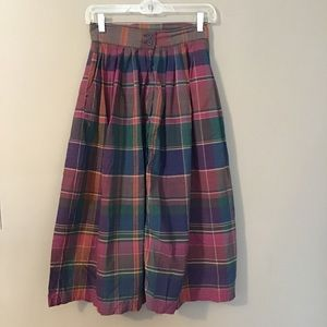 Vintage 80's Madras Plaid Cotton Midi Skirt